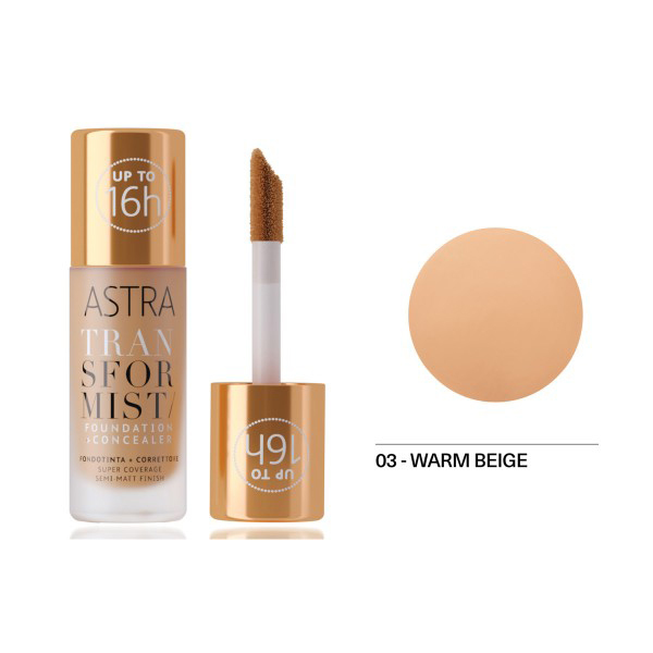 <br />Astra Transformist Foundation + Concealer n. 03 warm Beige