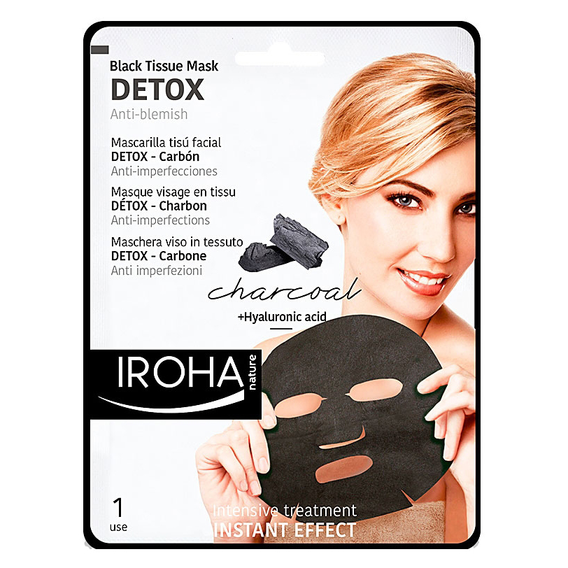 Iroha Nature Charcoal Black Tissue Mask Detox 1 use