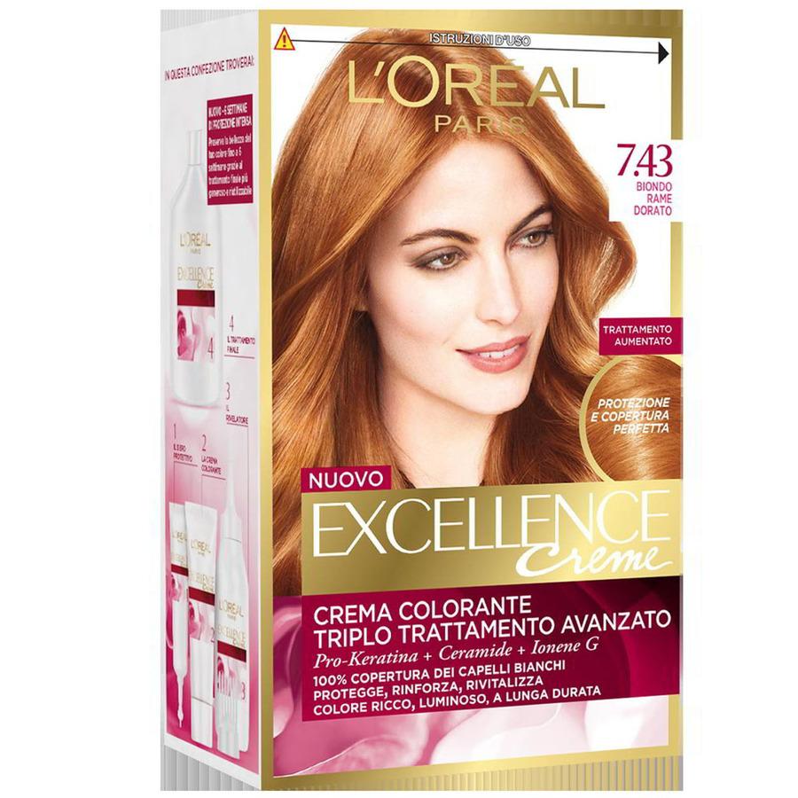 spesso Oreal Excellence Cream n. 7.43 biondo rame dorato PO22