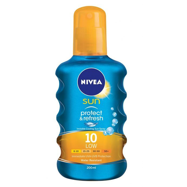Nivea Sun Protect & Refresh Spray Solare SPF 10 Rinfrescante Trasparente 200 ml